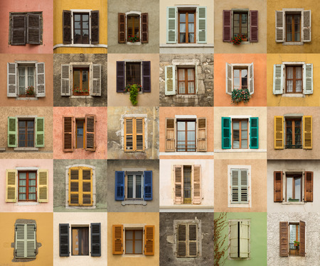 windows: Collage of different windows with colourful louver in Annecy, France