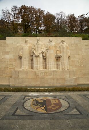 reformation: GENEVA-SWITZERLAND OCTOBER 25, 2015:  The International Monument to the Reformation in Geneva, Switzerland honor many of the main individuals, events, and documents of the Protestant Reformation by depicting them in statues and bas-reliefs.