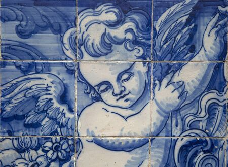 eduardo: PORTO-PORTUGAL NOVEMBER 4, 2015:  Detail of Santa Catarina chapel in Porto a Neoclassical temple fromend of the 18th century, their faades are completely covered by story-telling tile panels in blue and white painted in 1929 by Eduardo Leite.