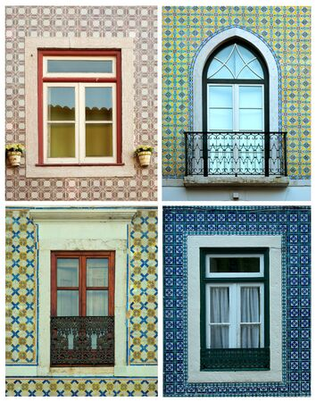 4 of a kind: Collage of 4 different kind of windows surround by tiles in Portugal