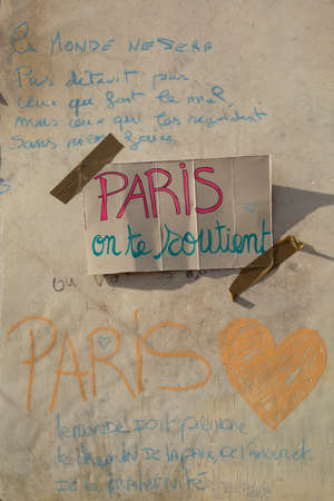 happens: LYON-FRANCE NOVEMBER 15, 2015: Thoughts on a wall about the terrorist bombing happens in France on 13th november 2015.