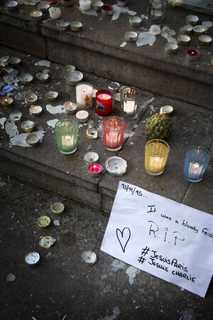 bombing: LYON-FRANCE NOVEMBER 15, 2015:  Offerings, toughts, flowers and candles on the steps of the town hall at Lyon, France about the terrorist bombing happens in France on 13th november 2015. Editorial