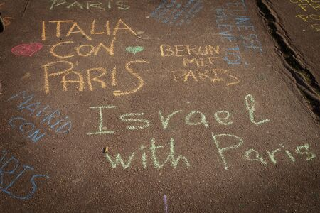 happens: LYON-FRANCE NOVEMBER 15, 2015: Thoughts and support on the pavement about the terrorist bombing happens in France on 13th november 2015.