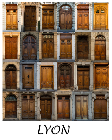 french doors: A collage of French coloured doors presented in a white border with the city name Lyon.