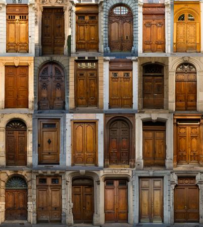 puertas de madera: Un collage de las puertas de madera de Lyon, Francia