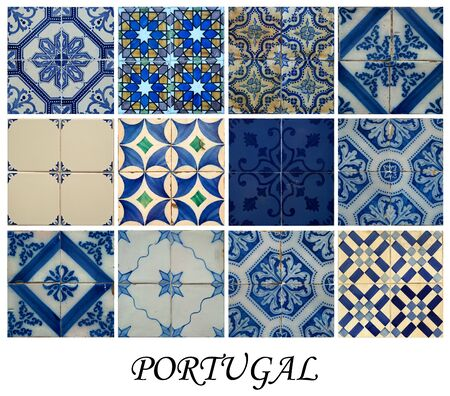 islamic pattern: Collage of different blue pattern tiles in Lisbon, Portugal