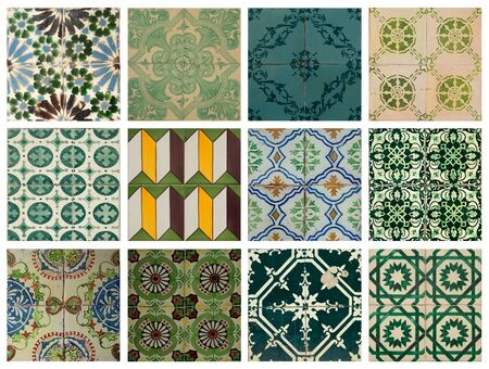 lisbon: Collage of different green pattern tiles in Lisbon, Portugal Stock Photo