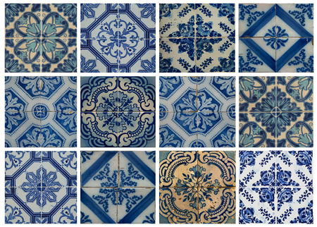 lisbon: Collage of different blue patterns tiles in Lisbon, Portugal