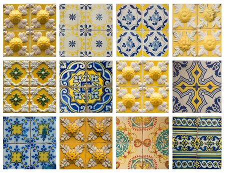 lisbon: Collage of different yellow and blue pattern tiles in Lisbon, Portugal