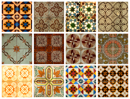 cirque: Collage of different orange and brown pattern tiles in Lisbon, Portugal Stock Photo