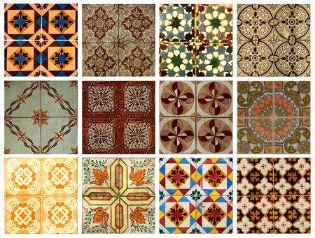 Collage van verschillende oranje en bruin patroon tegels in Lissabon, Portugal