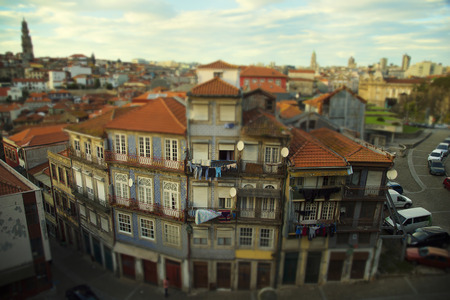 tilt views: Traditional houses in Ribeirra area in Porto, Portugal.  Tilt fit effect.