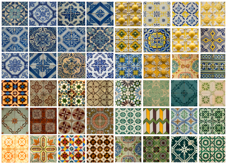 exterior architectural details: Collage of different colored pattern tiles in Lisbon, Portugal Stock Photo