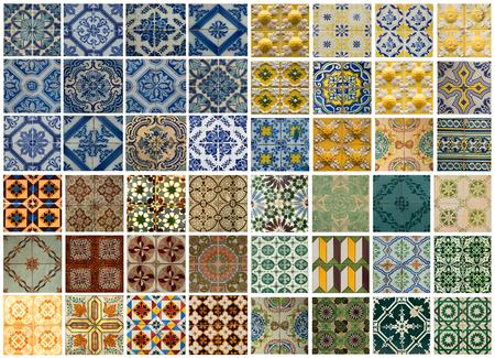 Collage van verschillende gekleurde patroon tegels in Lissabon, Portugal Stockfoto