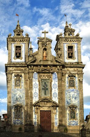 approximately: PORTO-PORTUGAL NOVEMBER 1, 2015:  The Igreja de Santo Ildefonso is an eighteenth-century church and have approximately 11,000 blue tiles cover the facade.