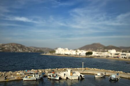 tilt and shift: Fishing boats at the marina with tilt shift effect in Paros, Greece
