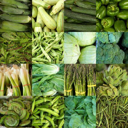 Collage van groene groenten zoals asperges, sla, komkommer en paprika's