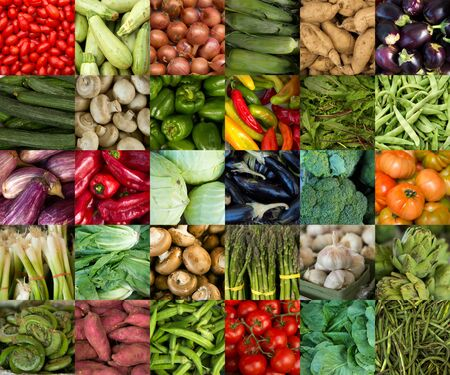 fiddlehead: Collage of vegetables like asparagus, lettuce, tomato and cucumber Stock Photo