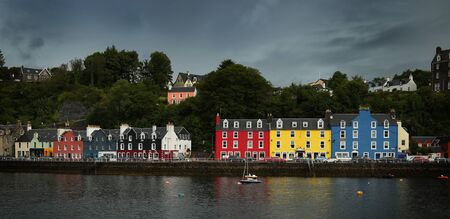 mull: View of colourful houses at Tobermory, isle of Mull in Scotland Stock Photo