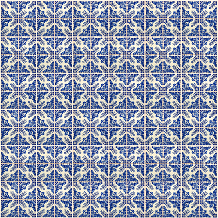 Collage van verschillende blauwe patroon tegels in Lissabon, Portugal
