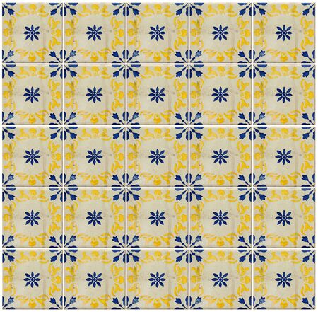 Collage van verschillende geel en blauw patroon tegels in Lissabon, Portugal Stockfoto