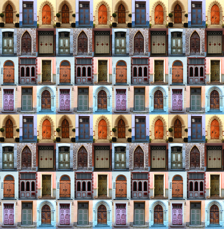 repeated: A collage of front doors from Tallin, Estonia, repeated to create a seamless, tillable pattern.