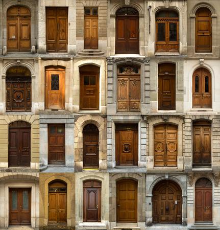 puertas de madera: Un collage de las 24 puertas de madera suizos
