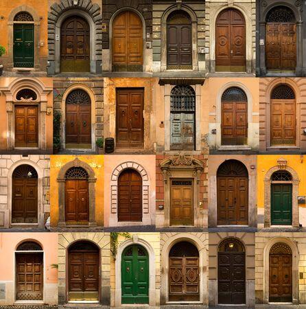 puertas de madera: Un collage de las 24 puertas de madera de Roma, Italia