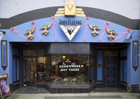 progressive art: VANCOUVER-CANADA 19 february 2016:  John Fluevog is a Canadian shoe designer. His shoes are noted for their progressive, art deco inspired styles and are designed in Vancouver, Canada.  Fans are all over the world who have become known as Fluevogers.