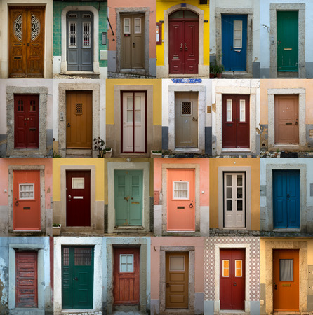 A collage of coloured portuguese doors from lisbon portugal capitals photo & A Collage Of Portuguese Coloured Doors Presented In A White Border ...