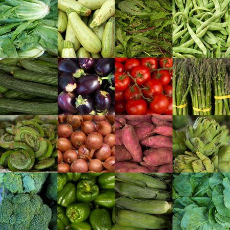 fiddlehead: Collage of green vegetables like asparagus, lettuce, cucumber and peppers