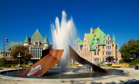 beauty fountain: QUEBEC-CANADA 6 OCT. 2016:  Modern fountain create by Charles Daudelin in front of the train station named Gare du Palais in Quebec, Canada Editorial