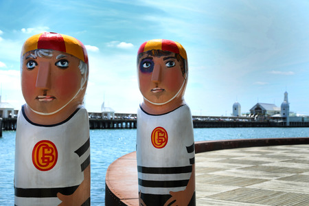 GEELONG, AUSTRALIA - OCTOBER 23, 2016:  Some of the 104 different bollards in Geelong along the baywalk.  All made by Jan Mitchell and represent a chronicle of the citys past.