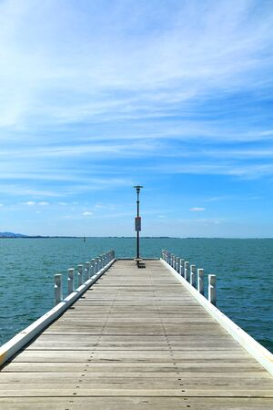 Wooden pier into the sea in Australia