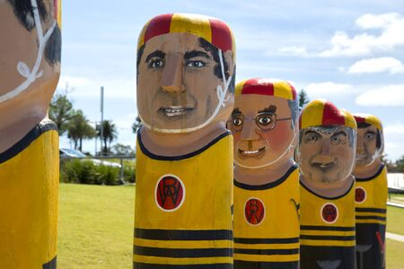 chronicle: GEELONG, AUSTRALIA - OCTOBER 23, 2016:  Some of the 104 different bollards in Geelong along the baywalk.  All made by Jan Mitchell and represent a chronicle of the citys past.
