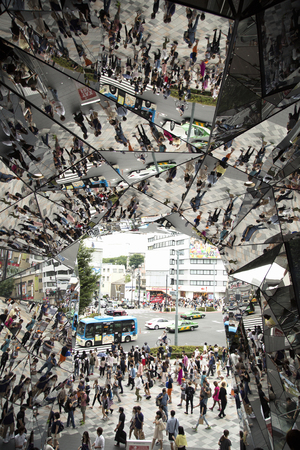 harajuku: Tokyo, Japan - JUNE 6, 2016 : Omotesando Tokyo Plaza building in Harajuku, Tokyo, Japan. It is a fashion theme park shopping mall for the trendiest fashion.  The entrance is full of mirror. Editorial
