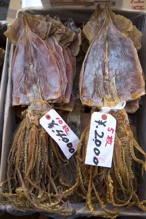 calmar: Dried calmar for sale in a market in Tokyo, Japan