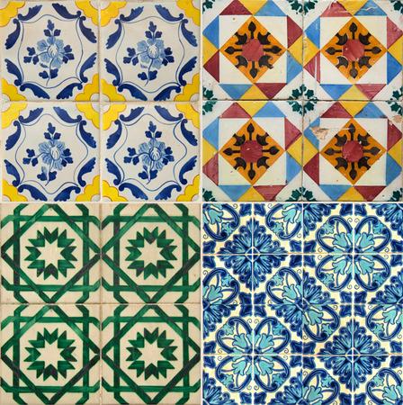 Collage van vier verschillende kleuren keramische tegels uit Portugal