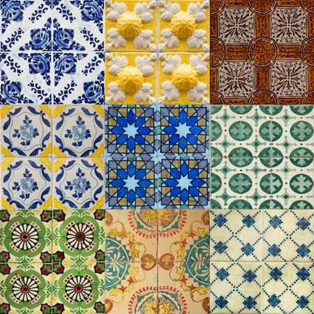 Kleurrijke keramische tegels patroon uit Lissabon, Portugal