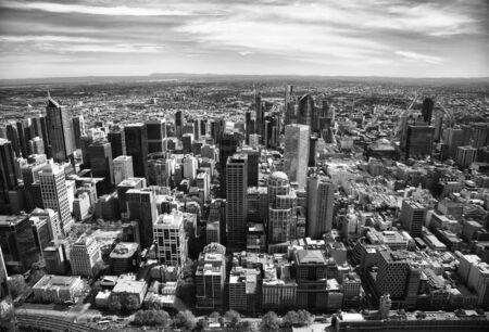 Aerial view of buildings of Downtown Melbourne, Victoria, in Australia.  Black and white 免版税图像