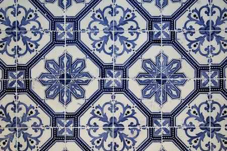 Keramische blauwe patroontegels van Lissabon, Portugal