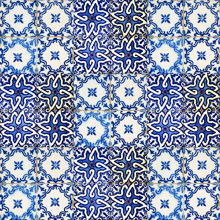 islamic pattern: Set of different blue patterns tiles in Lisbon, Portugal