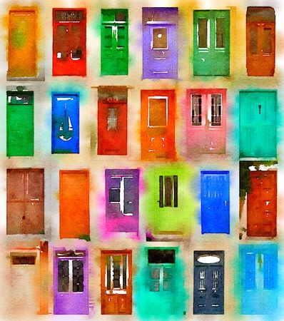 portone: Digital watercolor of 24 colorful doors Archivio Fotografico