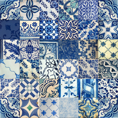 Set van verschillende blauwe patronen tegels in Lissabon, Portugal