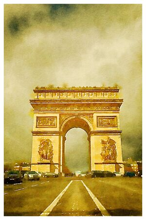 triumphal: Digital watercolour of Triumphal arch in Paris, France