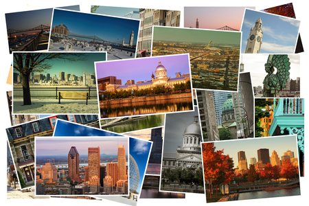Collage of images from famous location in Montreal, Canada