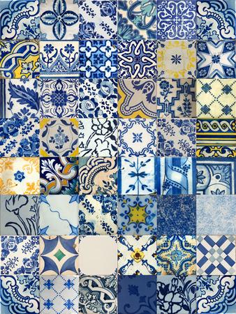 リスボン, ポルトガルの 48 の異なるブルー パターン タイルのセット 写真素材
