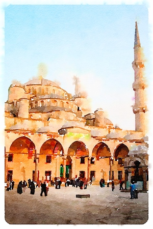 Digital watercolor of Sultan Ahmed Mosque or Blue Mosque in Istanbul