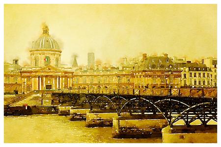 unesco: Digital watercolour of Institut of France, in Paris
