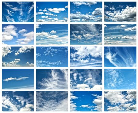 Collage  of beautiful clouds in a blue sky